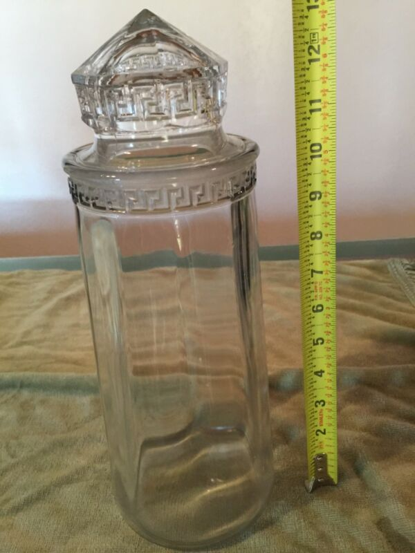 Antique Greek Key Apothecary Candy Jar Drug Store Pharmacy Display Jar