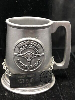 Vintage Road Rally Sports Car Club RWP Metal Pewter Cup / Mug Trophy W 1st Badge
