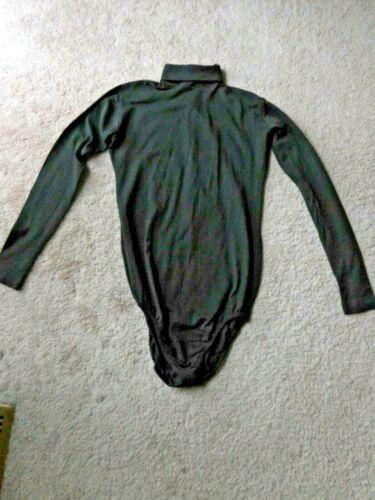 Vtg Danskin Full Fashioned Long Sleeve Black Leotard Bodysuit w/Zipper Large