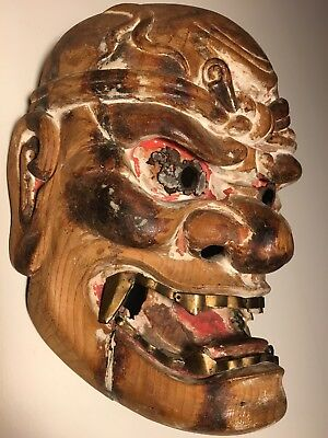 "Antique, Ethnographic, Shikami ""Fierce God"" (Kijin-kei) Wooden Japanese Mask"
