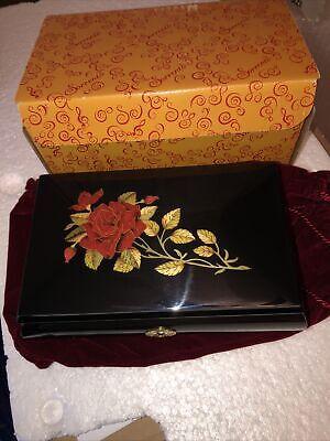 "san francisco music box ""Red Rose on Black Sorrento Box"" Plays ""Music Of The Nig"