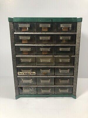 Vintage Metal Parts Hardware Storage Organizer Cabinet 21 Drawer Wall Mounts