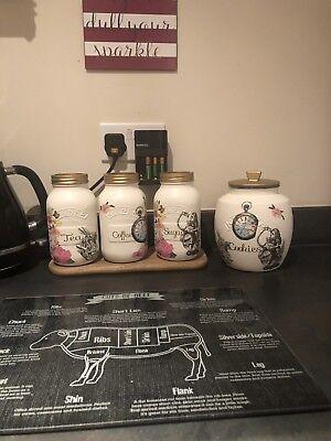 Kilner Tea Coffee Sugar & Cookie Jars - Alice In Wonderland (Cookies In Jar)