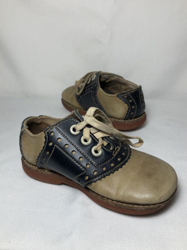 Antique Kinney Shoes Baby Two Tone Leather