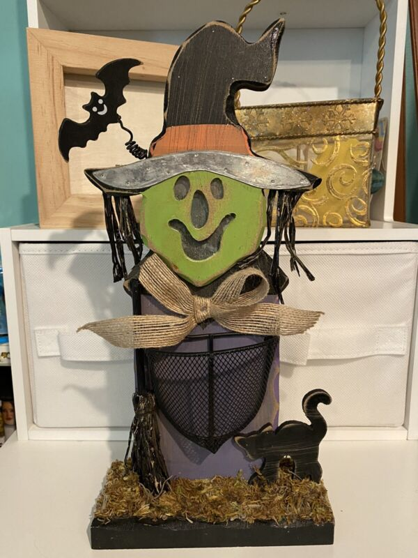 Halloween Mixed Media Wooden Witch Cat Bat Table Top Decoration ~ NEW