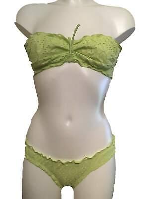 Calzedonia Lime Green Strapless Bandeau Bikini Set Size UK 34A & XS Bottoms