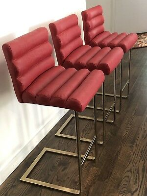 Dining Room Collection Bar Stool - Modern Pace Collection Set Of Three Brass Bar Stools