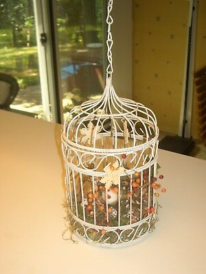 DECORATIVE BIRD CAGE WITH A LITTLE BIRD AND SPARKLING FLOWERS & GREENERY W/CHAIN