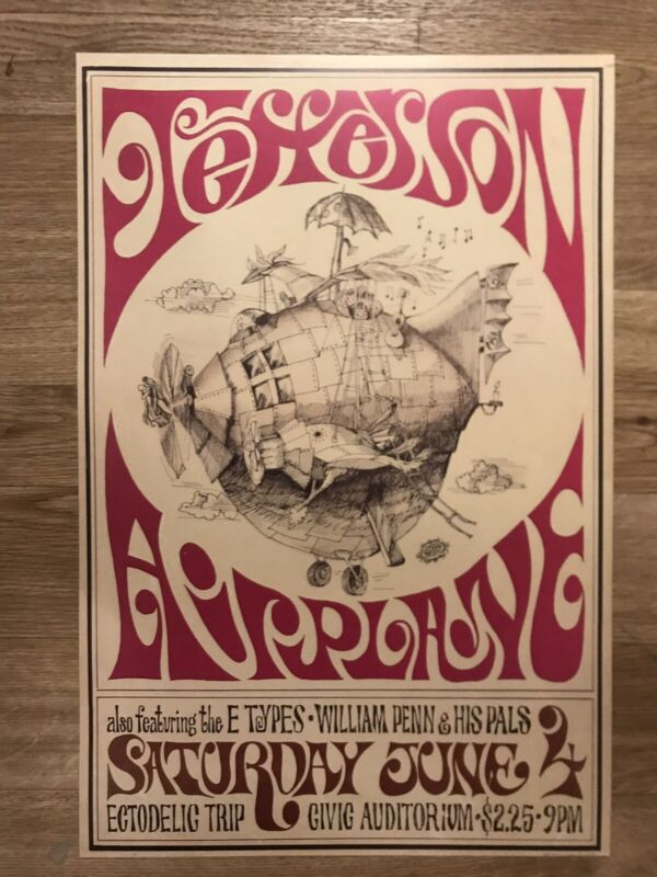 """Jefferson Airplane 1966 Cardstock Concert Poster 12"""" x 18"""""""