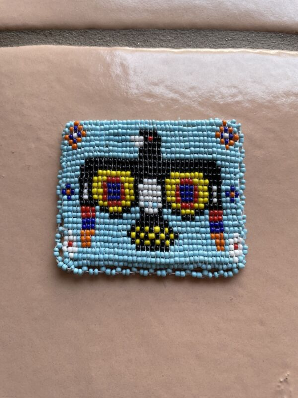 Native American Indian White Blue Red  Beaded Leather Coin Change Purse Vintage