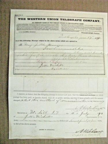 FORT SILL OKLAHOMA KIOWA WAR ARMY RECEIPT & TELEGRAM 1872
