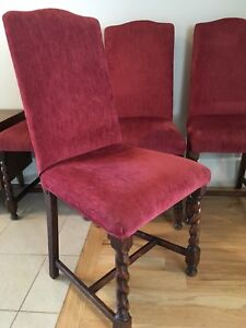 Set of four upholstered antique dining chairs