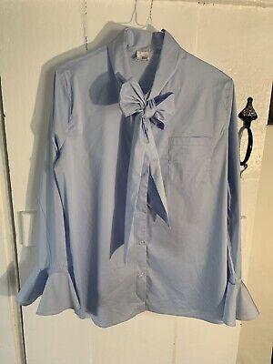 Iris & Ink Designer Pussy Bow Flared Cuff Womens Powder Blue Shirt. Size 14