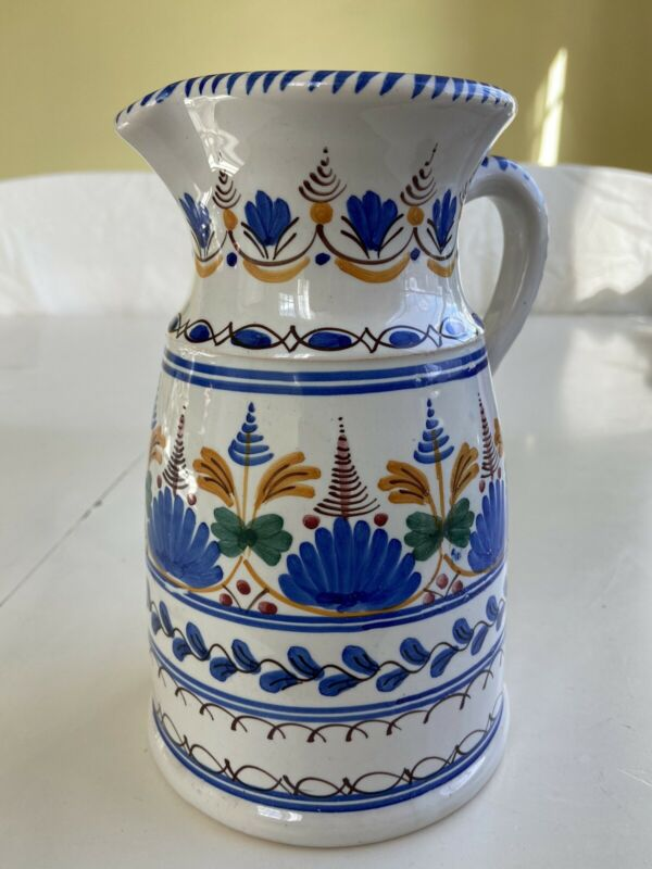"Vintage Signed Sevilla Cruz Floral Hand Painted Art Pottery Pitcher Spain 8"" H"