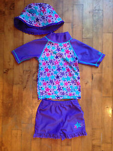 2T rash guard set with hat
