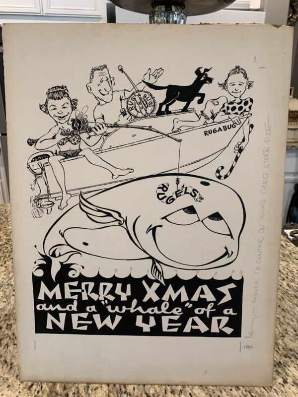 "VTG Kitschy 1951 Original Artwork Christmas Card Art Poster 20"" x 15""   #D"
