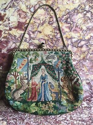 Beautiful Lady and the Unicorn vintage tapestry/needlepoint evening bag