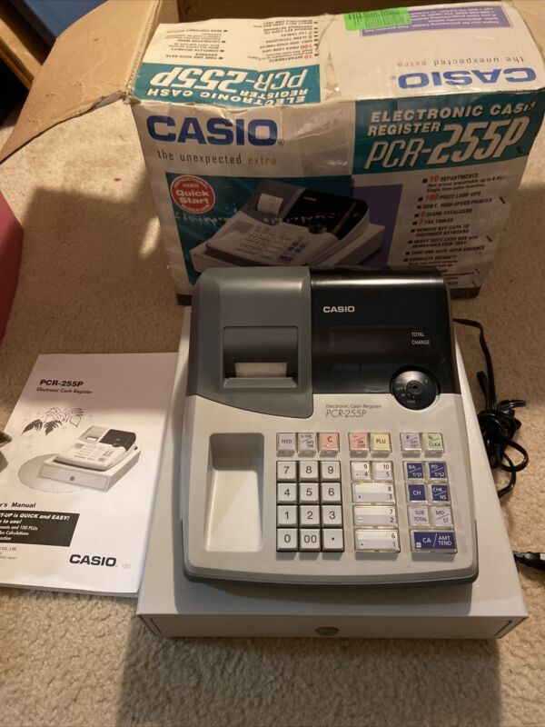 Casio PCR-255 Electronic Cash Register & Keys TESTED In Box W/ Manual