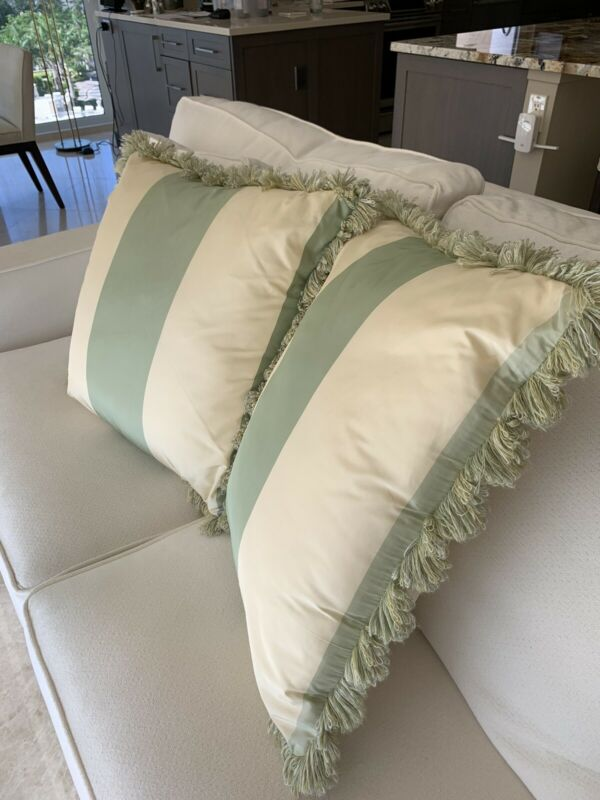 Custom Scalamandre silk pillows with fringe great condition, sage and ivory, 20""