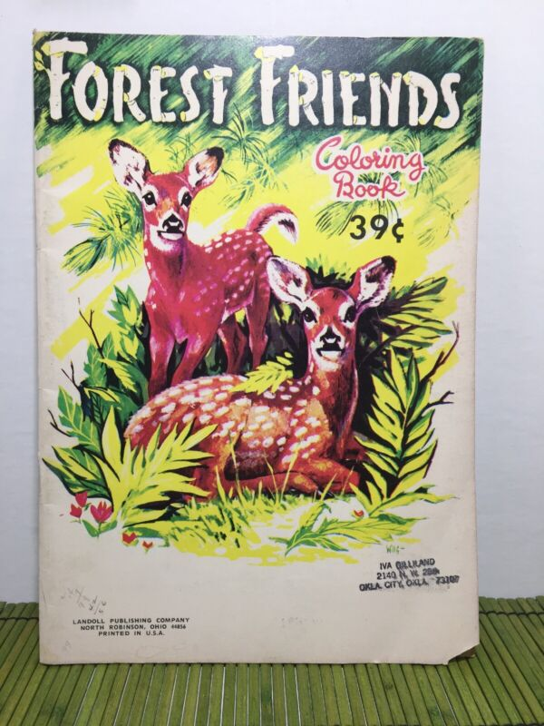 Vintage Coloring Book Forest Friends Landoll Publishing Painting Embroidery