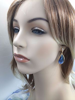 Plated Swarovski Rhinestone - 18K Gold Plated Blue Swarovski Crystal Rhinestone Dangle Fashion Earrings