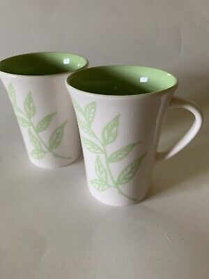 Starbucks Coffee Tazo Tea Coffee Mug 2005 10oz White w/ Green Leaves Set Of Two