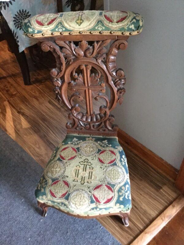 *RARE*  Antique Oak French Vintage Ornate Prayer Kneeler DATED 1850