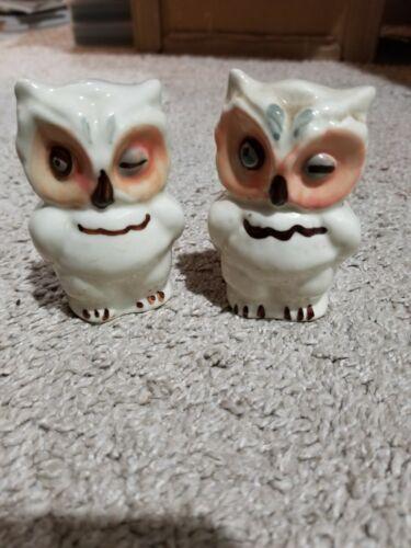 Vintage Porcelain White Owl Salt & Pepper Shakers 3 Inches