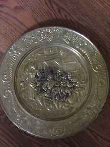 Brass wall charger plate
