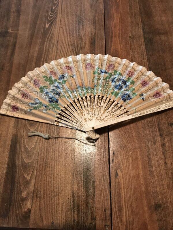 Vtg Meiji Japanese Hand Painted Folding Fan Floral Village Scene Rice Tassle