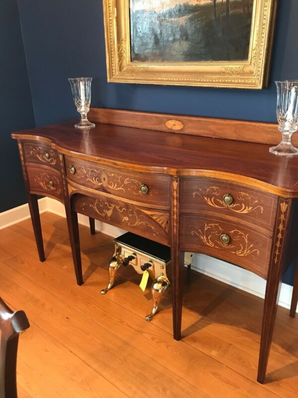 Antique Hepplewhite Inlaid Mahogany Sideboard Buffet