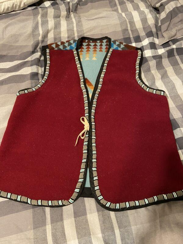 Native American Beaded Pendleton Vest Native American Made Men's Size Small