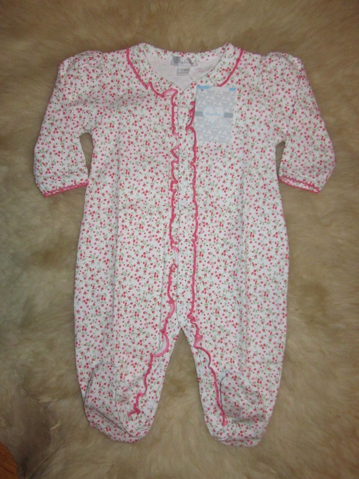 nwt and htf pink floral ruffle footie