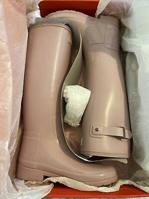 Womans Hunter Tall Wellies Size UK 3 Dusty Pink Matt/ Gloss Boots...