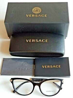 Brand New VERSACE Women's Prescription Eyeglass Frames Black/Gold Accent Temples