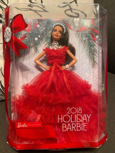 Holiday Barbie 2018 Brunette Barbie Signature Doll Hispanic 30th Anniversary NEW