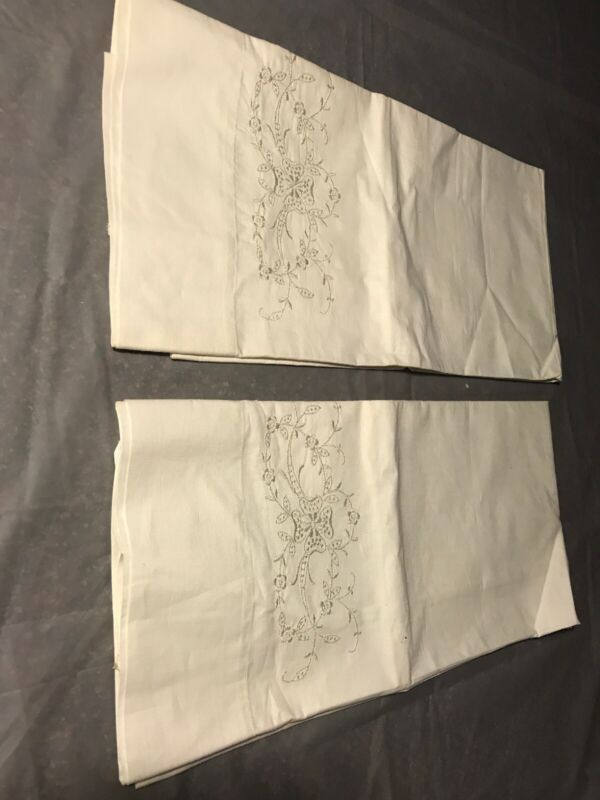 Vintage Cotton Embroidered Pillowcases FLORAL Off White Embroidery & Pull Work