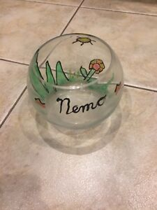Beta fish bowl hand painted