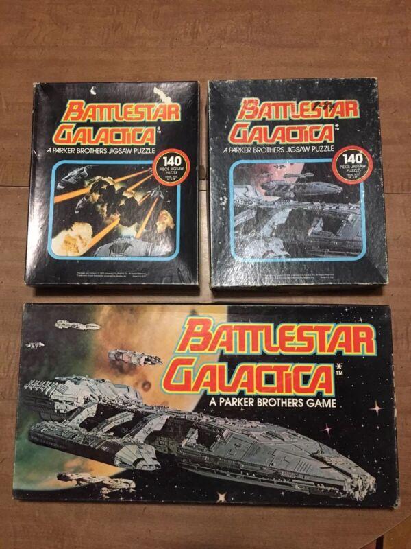 All COMPLETE Vintage 1978 Battlestar Galactica Board Game & 2 Puzzles Parker Bro