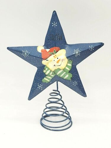 """Star Tree Topper 17"""" Christmas Hand Painted Snowman Metal Spring"""