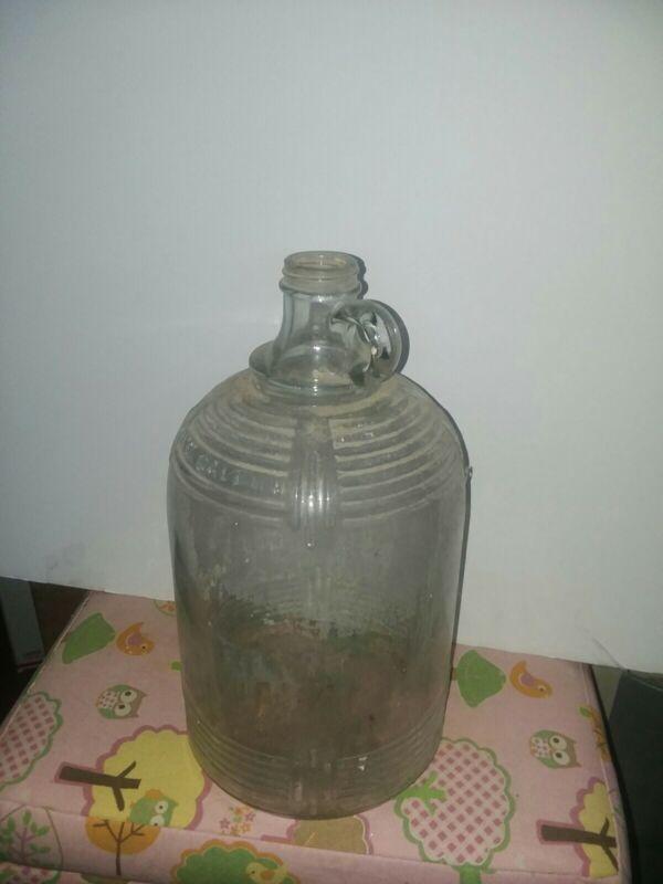 Vintage Primitive Old Glass Gallon Jug Finger Loop Moonshine