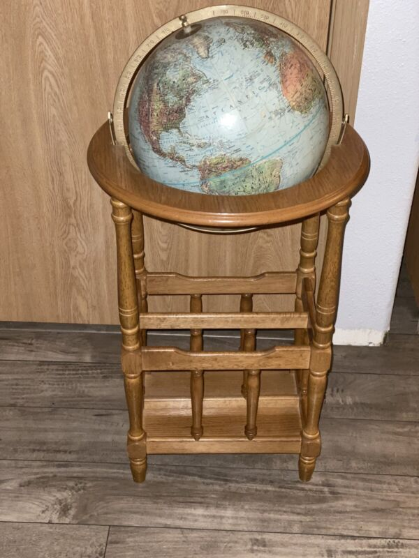 "Vintage Replogle World Classic Series 12"" Globe - Wood Floor Stand / Mag. Rack"