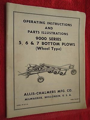 Vintage Allis Chalmers 9000 Series 5 6 7 Bottom Plow Operating Parts Manual