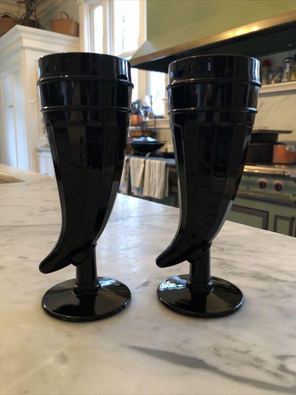 Vintage Tiara Indiana Glass Black Horn Shaped Glasses Mugs Tankards (2)