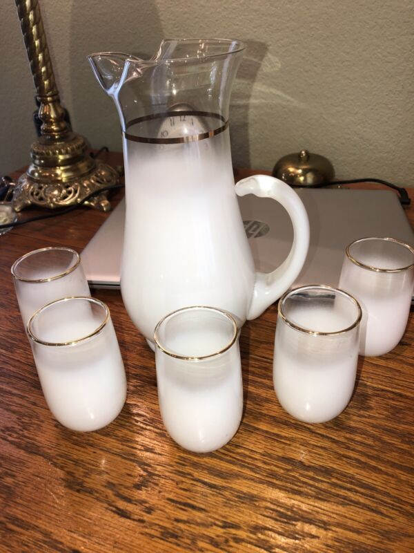 Vintage 6 Piece Blendo White/Clear Frosted Juice Pitcher & 5 Glasses Drink Set