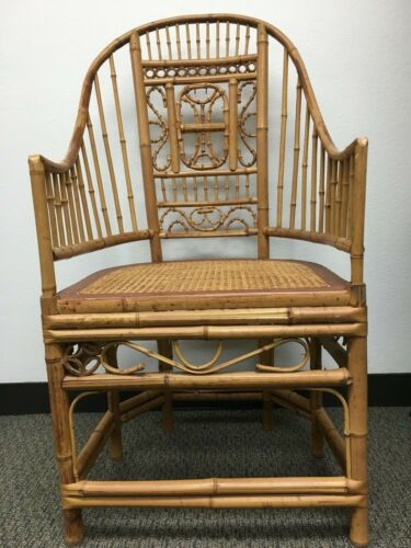 Pavilion Vintage Chinoiserie Style Rattan Bamboo & Cane Arm Chair Set of 4