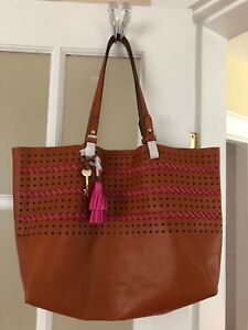 Fossil Tote Bag Tan Leather New $100