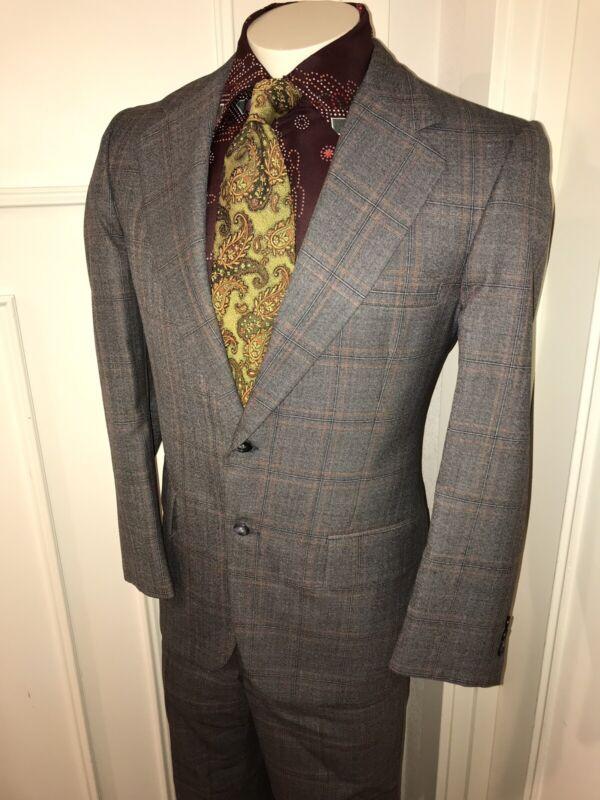 Vtg 70s Gray BOTANY 500 Plaid 2 Piece SUIT Mens 40 Jacket Coat 35 28 Pants Retro