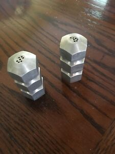 Salt and pepper shakers aluminum hand made