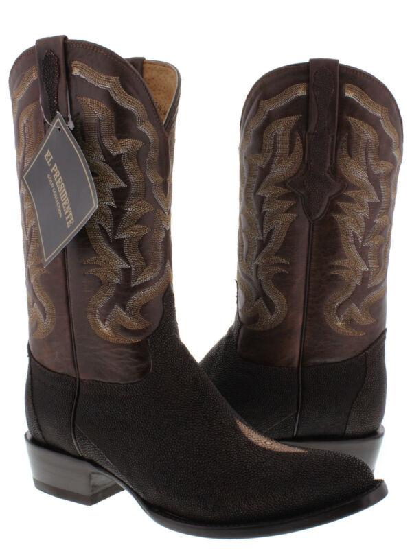 mens, brown, genuine, stingray, skin, leather, western, cowboy, boots, crocodile, round